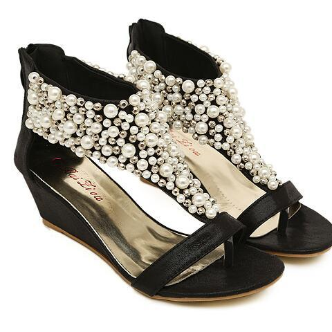 Black Pearl Beaded Wedge T-Strap Sandals with Back Zipper