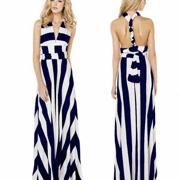 Show thin and sexy backless a variety of tees in wide stripe to mop the floor skirt, long dress