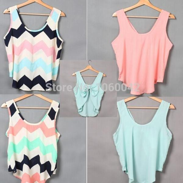 Sexy women's wear sleeveless vest, summer fashion Bowknot backless printing vest
