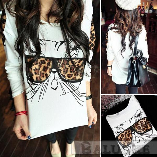 Women's T-shirt, the leopard glasses cat personality T-shirt