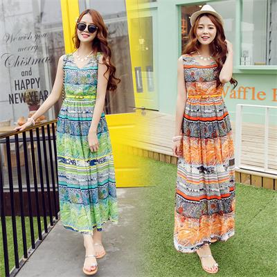 Bohemian Summer Dress Striped Chiffon Dress KU1Z0VLN7EX5PXFN9TPXW XF49BZ2PGR5